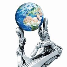 Eine Roboterhand hält eine Weltkugel in den Händen.